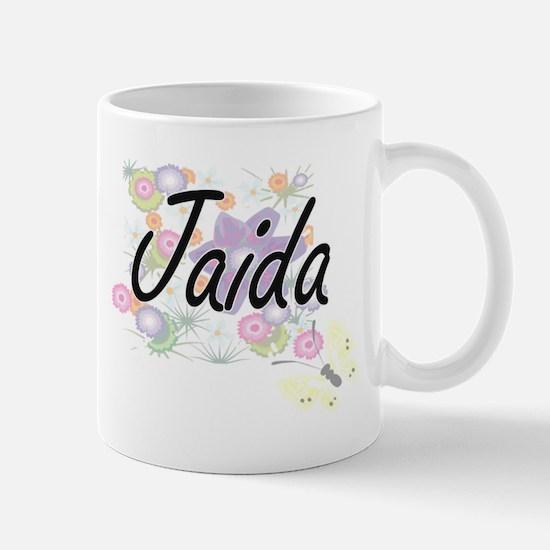 Jaida Artistic Name Design with Flowers Mugs