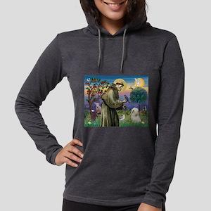 St Francis /Tibetan Terrier Womens Hooded Shirt