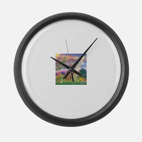 Cloud Angel / Vizsla Large Wall Clock