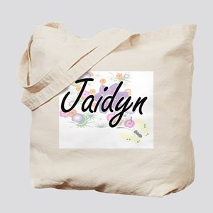 Jaidyn Artistic Name Design with Flowers Tote Bag
