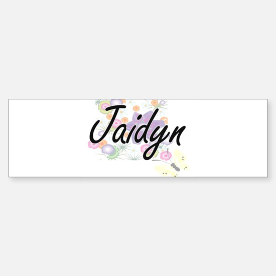 Jaidyn Artistic Name Design with Fl Bumper Bumper Bumper Sticker