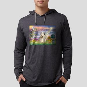 Cloud Angel & Westie Mens Hooded Shirt