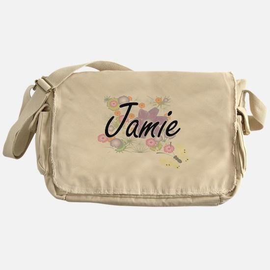 Jamie Artistic Name Design with Flow Messenger Bag