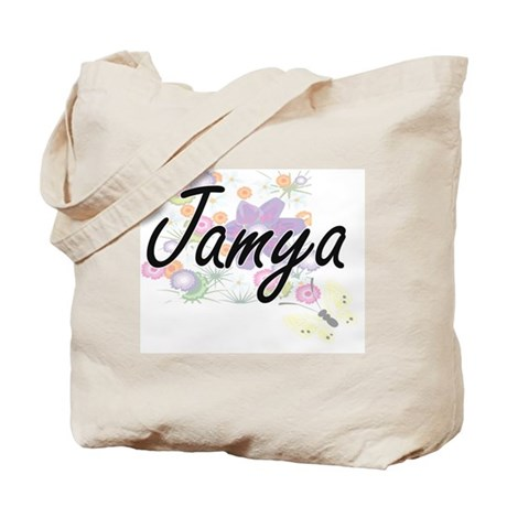 4dda9a49e8 Jamya Artistic Name Design with Flowers Tote Bag by Admin CP2183672