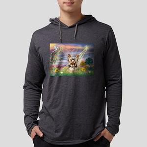 Cloud Angel & Yorkie Mens Hooded Shirt