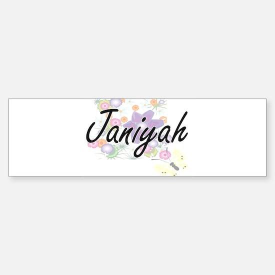 Janiyah Artistic Name Design with F Bumper Bumper Bumper Sticker
