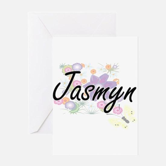 Jasmyn Artistic Name Design with Fl Greeting Cards