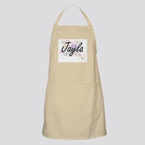 Jayla Artistic Name Design with Flowers Apron