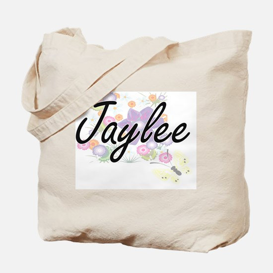 Jaylee Artistic Name Design with Flowers Tote Bag