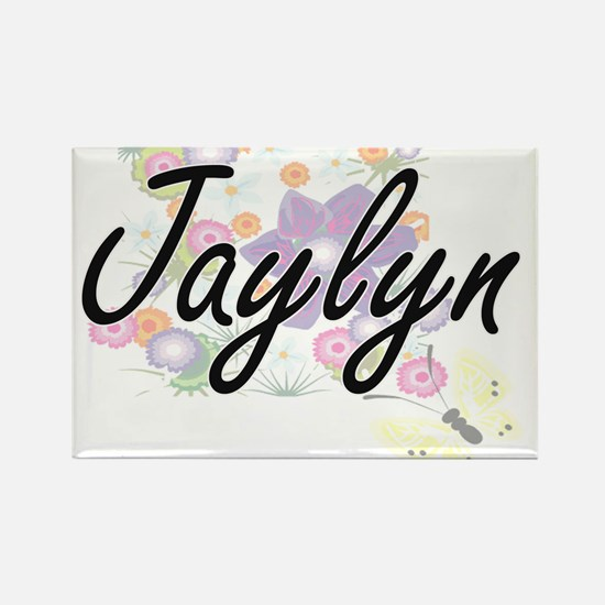 Jaylyn Artistic Name Design with Flowers Magnets