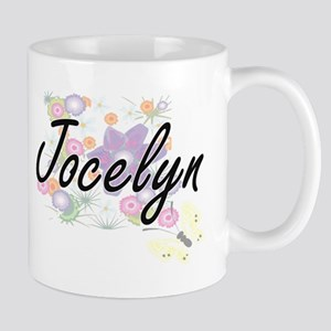 Jocelyn Artistic Name Design with Flowers Mugs