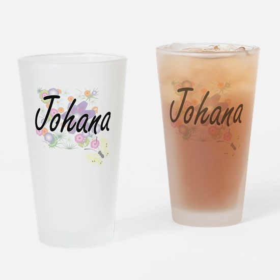 Johana Artistic Name Design with Fl Drinking Glass