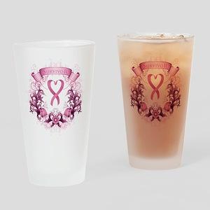 Survivor Pink Heart Ribbon Drinking Glass