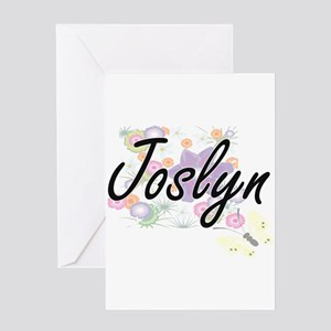 Joslyn Artistic Name Design with Fl Greeting Cards