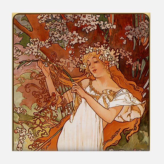 Alphonse Mucha Art Tile Set - Spring (1 of 2)