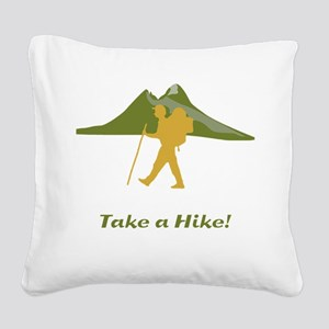 Hiker Mountain Square Canvas Pillow