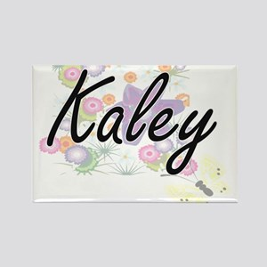 Kaley Artistic Name Design with Flowers Magnets