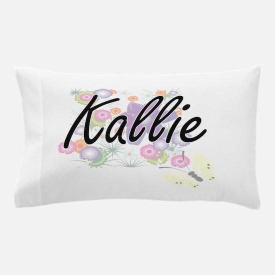 Kallie Artistic Name Design with Flowe Pillow Case