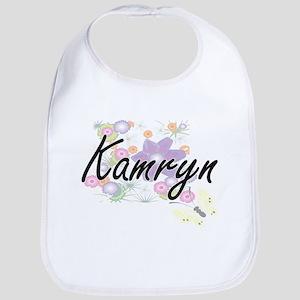 Kamryn Artistic Name Design with Flowers Bib