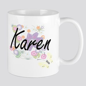 Karen Artistic Name Design with Flowers Mugs