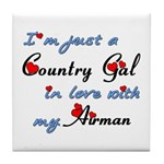 Country Gal Air Force Love Tile Coaster