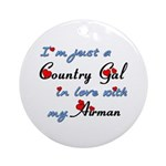 Country Gal Air Force Love Ornament (Round)
