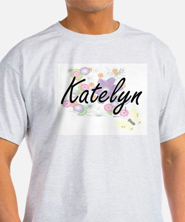 Katelyn Artistic Name Design with Flowers T-Shirt