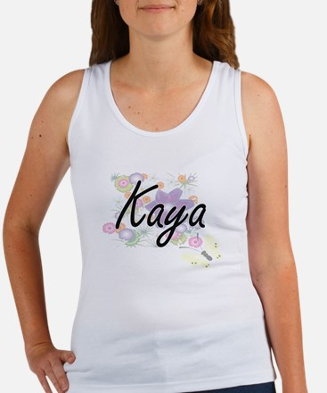 Kaya Artistic Name Design with Flowers Tank Top