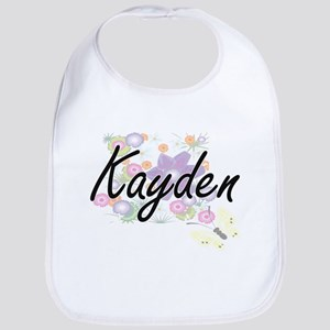 Kayden Artistic Name Design with Flowers Bib