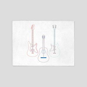 Linework Guitars 5'x7'Area Rug