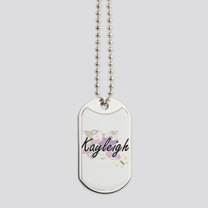Kayleigh Artistic Name Design with Flower Dog Tags