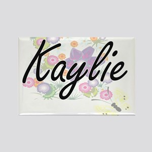 Kaylie Artistic Name Design with Flowers Magnets