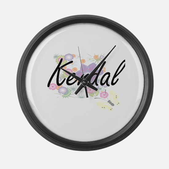Kendal Artistic Name Design with Large Wall Clock