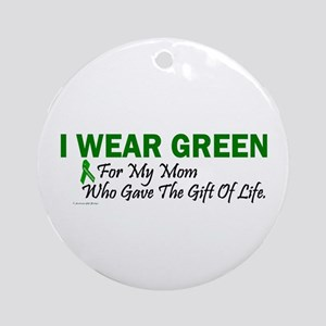 Green For Mom Organ Donor Donation Ornament (Round