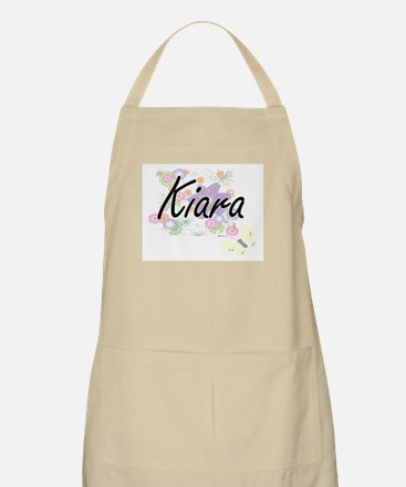 Kiara Artistic Name Design with Flowers Apron