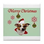 Jack Russell Christmas Greetings Tile Coaster
