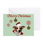 Jack Russell Christmas Greetings Greeting Cards (P