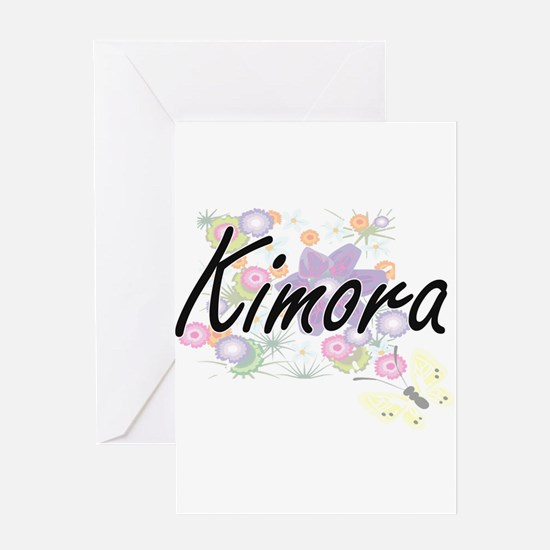 Kimora Artistic Name Design with Fl Greeting Cards