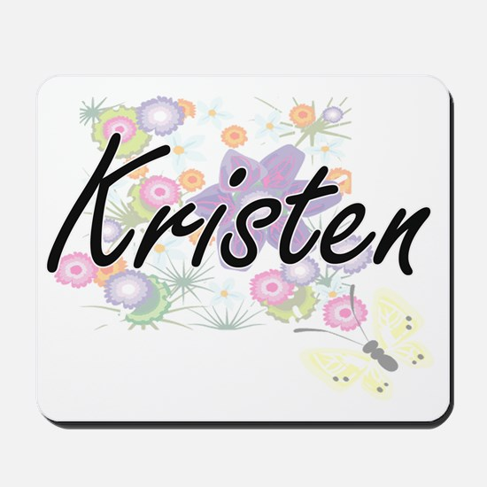 Kristen Artistic Name Design with Flower Mousepad
