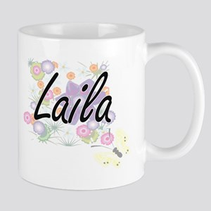 Laila Artistic Name Design with Flowers Mugs