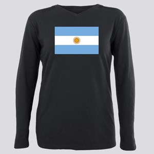 Argentina Flag Plus Size Long Sleeve Tee