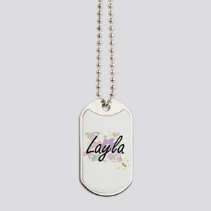 Layla Artistic Name Design with Flowers Dog Tags