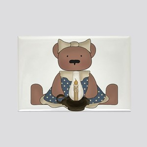Teddy Bear With Vintage Lamp Rectangle Magnet