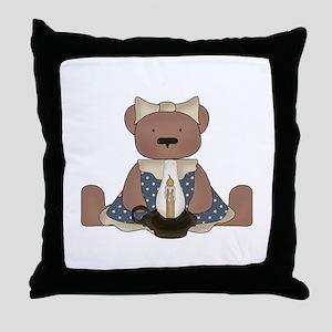 Teddy Bear With Vintage Lamp Throw Pillow