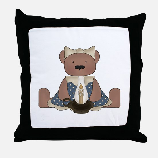 Teddy Bear With Vintage Lamp Throw Pillow