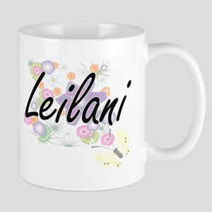 Leilani Artistic Name Design with Flowers Mugs