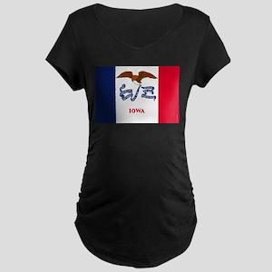 Iowa State Flag Maternity Dark T-Shirt