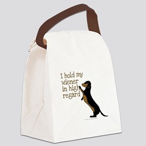 I hold my wiener dog Canvas Lunch Bag