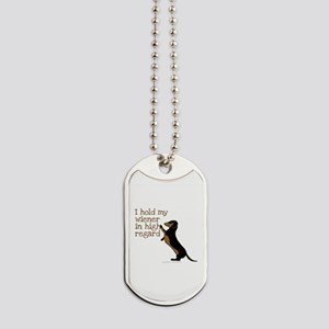 I hold my wiener dog Dog Tags