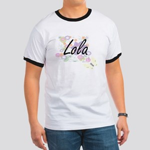 Lola Artistic Name Design with Flowers T-Shirt